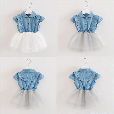 Toddler Infant Baby Girls Denim Tutu Tulle Princess Dresses Sundress Outfits Set