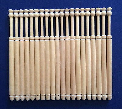 10 Pairs of Wooden Lace Making Bobbins by Harlequin Lace