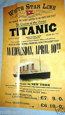 TITANIC Poster Disaster New York City Steamer Travel Sea Belfast Ship Very Sad