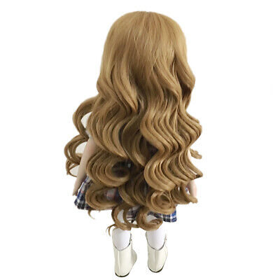 26cm Lovely Long Curly Wig Clothes Accessory for 18inch American Doll Khaki