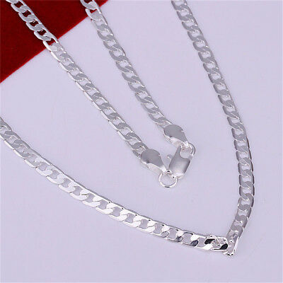 Stunning 925 Sterling Silver Filled 4MM Classic Curb Necklace Chain Wholesale ZT