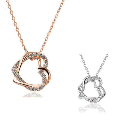 18K Rose Gold Filled Women's Heart Pendant Necklace With  Crystal ZT