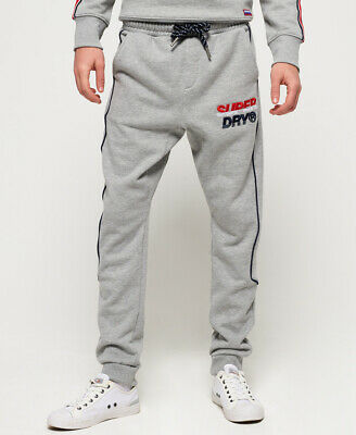 New Mens Superdry Applique Nu Lad Joggers Varsity Silver Grit