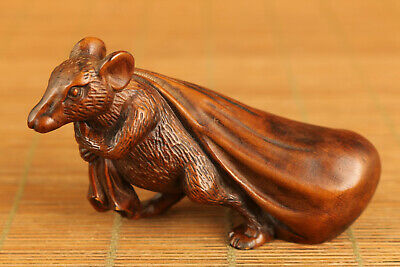 Rare unique chinese old boxwood hand carved mouse money statue netsuke table art