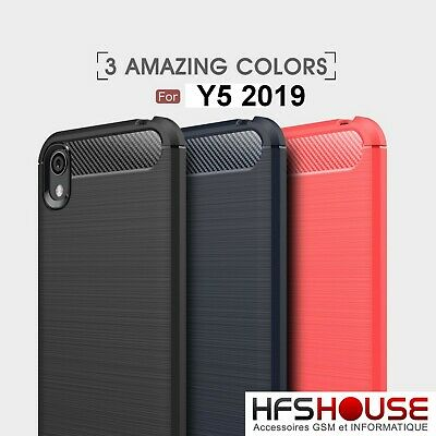 Pour Huawei Y5 2019 Coque Housse Etui Carbone Silicone Gel Case Cover