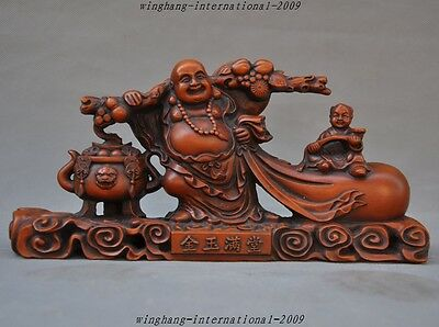 Chinese Buddhism Old Boxwood Carved Money Coins Boy Ruyi Maitreya Buddha Statue