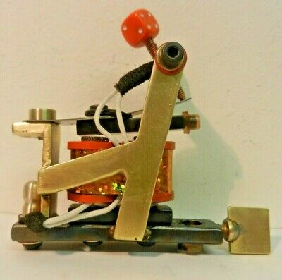 rare old kev shercliff brass tattoo machine - rebuilt power liner