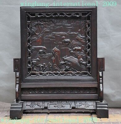 Collect Chinese Rosewood wood Hand carved Fengshui poem word animal horse screen