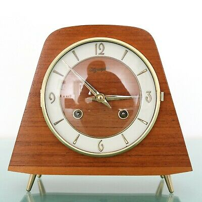 HERMLE Olympic Mantel Clock 1964 SWEET Shaped Vintage Gloss! 3 Bar Chime Germany