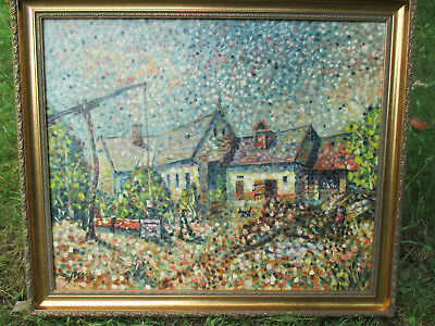 PAUL MELLIS Viennese Original Oil Painting Pointillism Pointillist COUNTRY SCENE