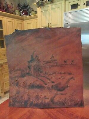 Large Vintage Argentinian Tooled Leather Art (Gauchos Bolo Hunting) 3-D Features