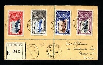 2213-ST.VINCENT-REGISTERED COVER ST.VICENT to GLASGOW (scotland) 1936.British