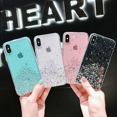 Sparkle Bling Stars Phone Case Clear Ultra Thin Slim for iPhone X XR MAX 6 7 8