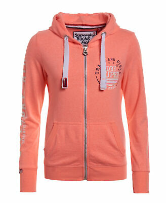 New Womens Superdry Unique Sample Track & Field Zip Hoodie Size Medium Coral