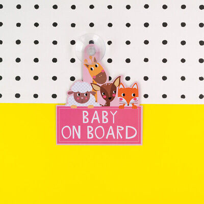 Pink Baby On Board Sign - High Visibility Laminated Car Sign
