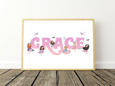 Personalised Fairy Name Cute Wall Art Print Poster Ideal Gift A4 Girls Room
