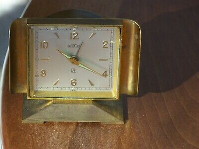 Vintage Angelus Swiss 8 Day, 15 Jewels Gold Desk alarm Clock