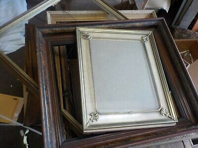 5 antique picture frames 1900's mahoghony to mid century