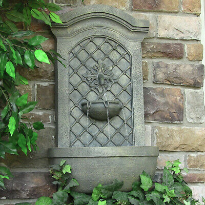 Rosette Leaf Outdoor Wall Fountain - French Limestone Electric or Solar