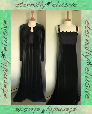 RICHARDS Black Green Velvet Long Evening Prom Dress Matching Jacket Size L 16 44