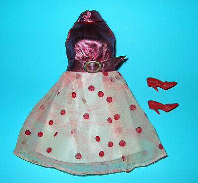 Vintage Barbie Rare Glo-Go Dress And Red Closed Toe Shoes Complete