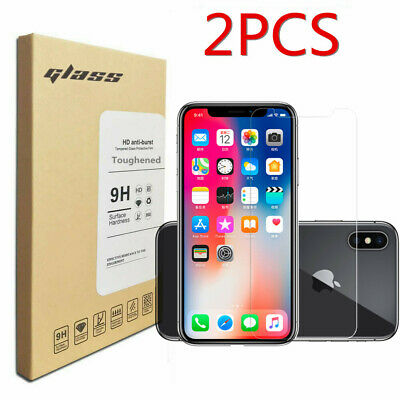 2Pcs Clear Tempered Glass Cover Film 9H Screen Protector For Apple Iphone Xs