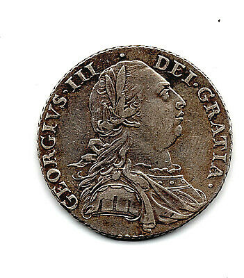 1787 Royal Mint Solid Silver Shilling V Old Antique Coin Fine Good Grade London