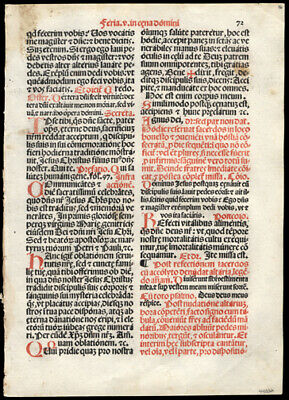 1566 Roman Missal Leaf Mass for Holy Thursday Easter Season Lent Crucifixion