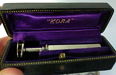 Vintage Kora Round Head Safety Razor In Leather Covered Wood Case Rasetti France