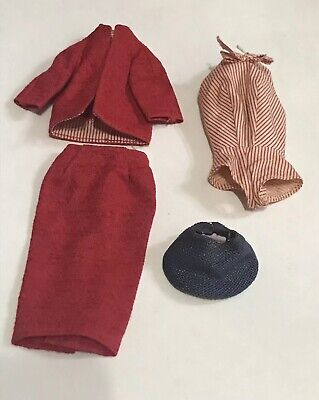 Estate Vintage 60's Barbie Busy Gal Outfit Straw Hat Jacket Bodysuit & Skirt 981