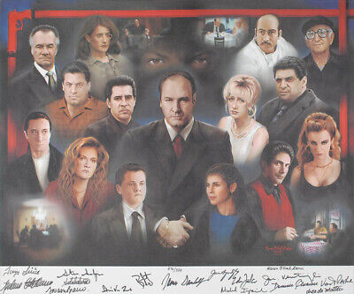 The Sopranos Tv Cast - Printed Art Signed In Ink Circa 2001 With Co-Signers