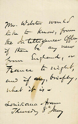 Daniel Webster - Third Person Autograph Letter 01/08