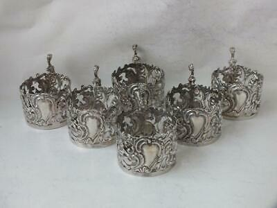 Set of 6 Antique Sterling Silver Coffee Cup/Glass Holders 1910/ Dia 4.7cm/ 161g