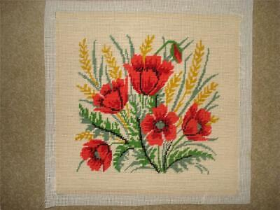 Vintage Needlepoint/Tapestry Poppy Cushion Front Completed