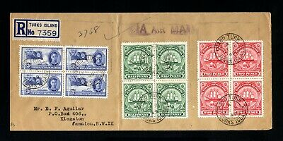1810-TURKS & CAICOS-AIRMAIL REGISTERED COVER TURKS to KINGSTON(jamaica)1936 WWII