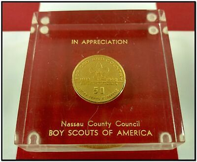 Vtg Boy Scouts Lucite Paperweight 50 Year Service Coin 1910-1960 Nassau County