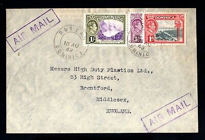 1778-DOMINICA-AIRMAIL COVER ROSEAU to MIDDLRSEX (england).1949.WWII.British