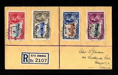 2205-DOMINICA-REGISTERED COVER ROSEAU to GLASGOW (scotland).1936.WWII.British