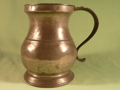 Antique Pot Belly Baluster Quart Pewter Tankard Measure !9th Century Victorian