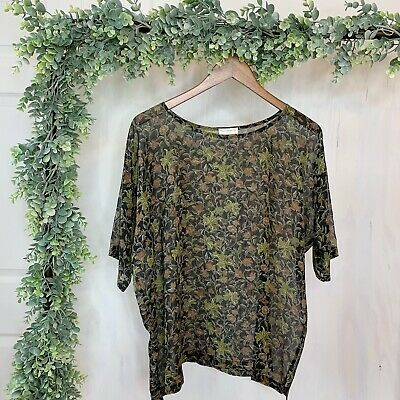 1ba8e5ad40bc97 DRIES VAN NOTEN Green Brown Floral Silk Blouse Short Sleeve Top Women Size  38 8