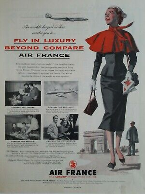 1959 Air France luxury worldwide Airline fly Beyond Compare vintage ad