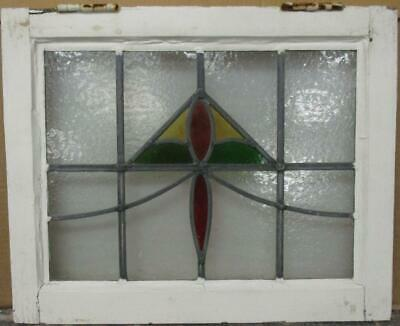 "OLD ENGLISH LEADED STAINED GLASS WINDOW Nice Abstract Sweep Design 20.5"" x 16.5"""