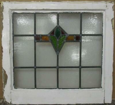 "OLD ENGLISH LEADED STAINED GLASS WINDOW Compact Geometric Design 20"" x 18.5"""