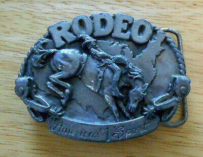 """Vintage Siskiyou pewter belt buckle """"Rodeo America's #1 Sport"""" - free shipping"""