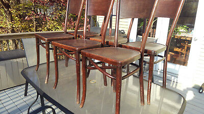 Set Six Antique Thonet Bentwood Chairs Labels Beautiful Pattern Seats Wein