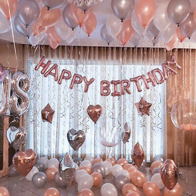 Rose Gold Happy Birthday Bunting Banner Balloons Wedding Baby Shower Party Decor