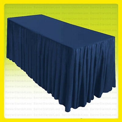 8' Fitted Table Skirt Cover Tablecloth w/Top Topper Wedding Event - NAVY BLUE