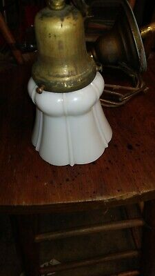 Antique Brass And Milkglass Pendant Light Fixture