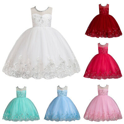 Baby Girls Flower Wedding Dresses Kids Sequins Bridesmaid Birthday Gown Princess