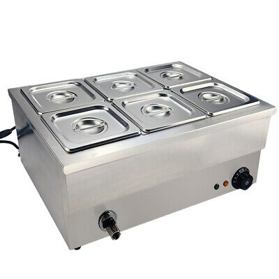 Commercial 6 Pots Bain Marie Catering Wet Well Wet Heat Electric Food Warmer
